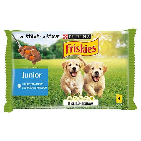 Friskies Puppy VitaFit kapsička pre šteňatá s kuraťom a mrkvou v šťave 4 x 100 g