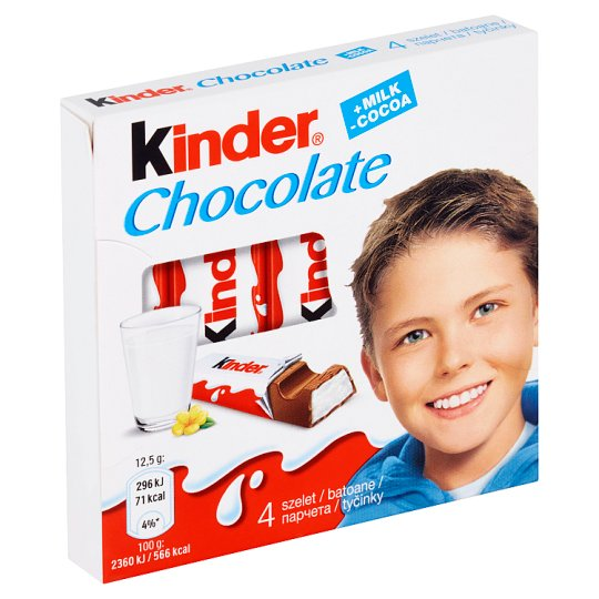 Kinder Chocolate Milk Chocolate Bars with Milk Filling 4 x 12.5 g