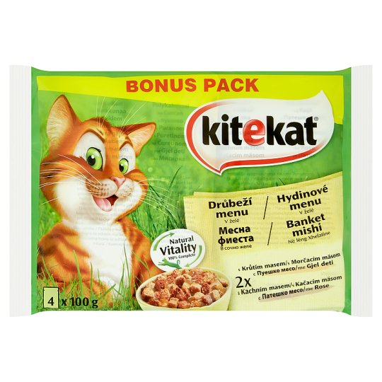 Kitekat Poultry Menu in Jelly Complete Food for Adult Cats 4 x 100 g