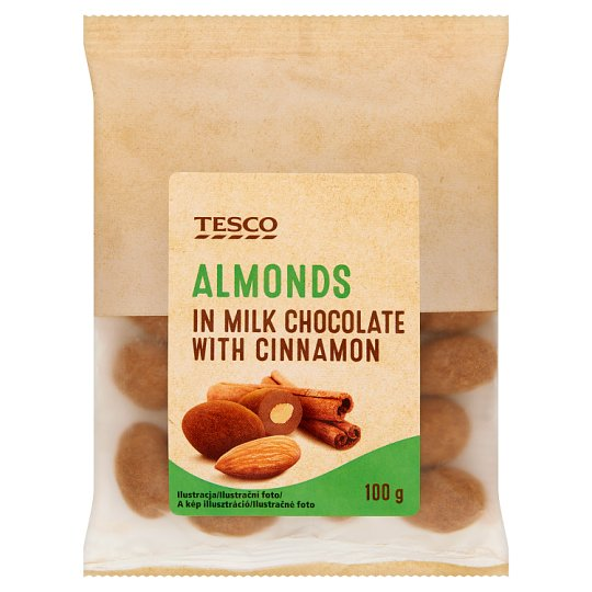 Tesco Almonds in Milk Chocolate with Cinnamon 100 g