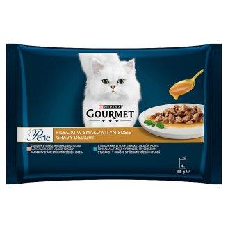 GOURMET Perle Gravy Delight Multipack s lososom a s tuniakom v ochutených omáčkach 4 x 85 g