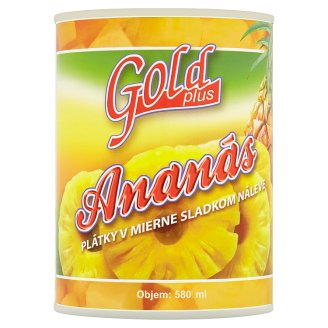 Gold Plus Ananás plátky v mierne sladkom náleve 565 g