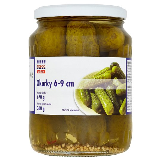 Tesco Value Cucumbers Spicy Sweet and Sour Pickle with Sweeteners 6-9 cm 670 g