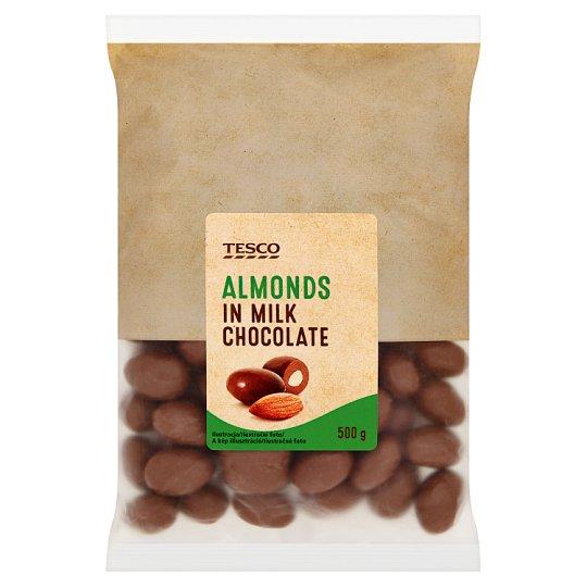 Tesco Mandle jadrá pražené v mliečnej čokoláde 500 g