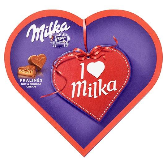 Milka I Love Milka pralinky z mliečnej čokolády z alpského mlieka plnené mandľovou náplňou 38,5 g