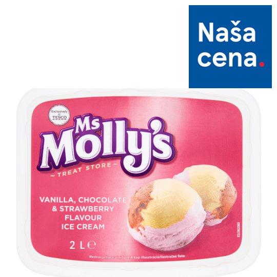 Tesco Ms Molly's Mrazený krém s vanilkovou, čokoládovou a jahodovou príchuťou 2 l