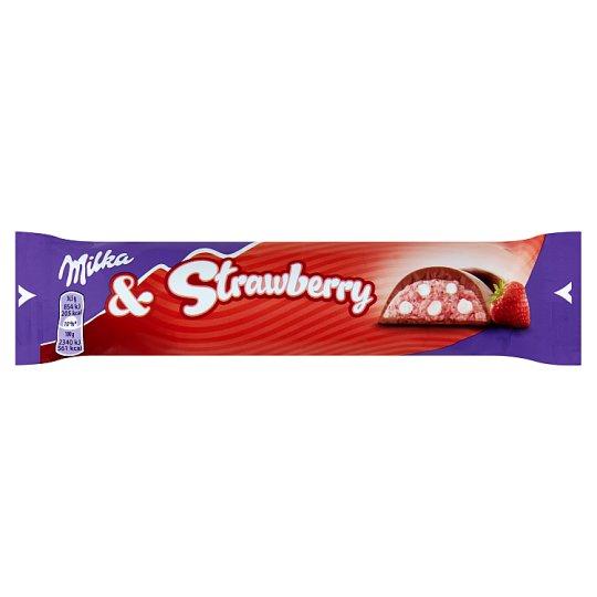 Milka Mliečna čokoláda z alpského mlieka s mliečnou náplňou s jahodami a pšeničnými chrumkami 36,5 g