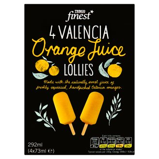 Tesco Finest Frozen Orange Juice on Stick 4 x 73 ml