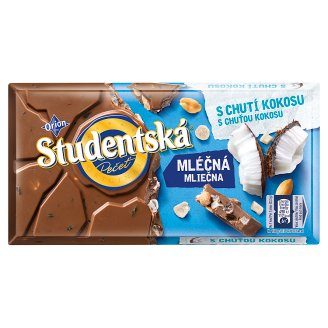 ORION STUDENTSKÁ PEČEŤ Milk Chocolate with Coconut Taste 180 g