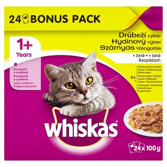 Whiskas Hydinový výber v želé kompletné krmivo pre dospelé mačky 24 x 100 g