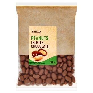 Tesco Arašidy jadrá pražené v mliečnej čokoláde 500 g