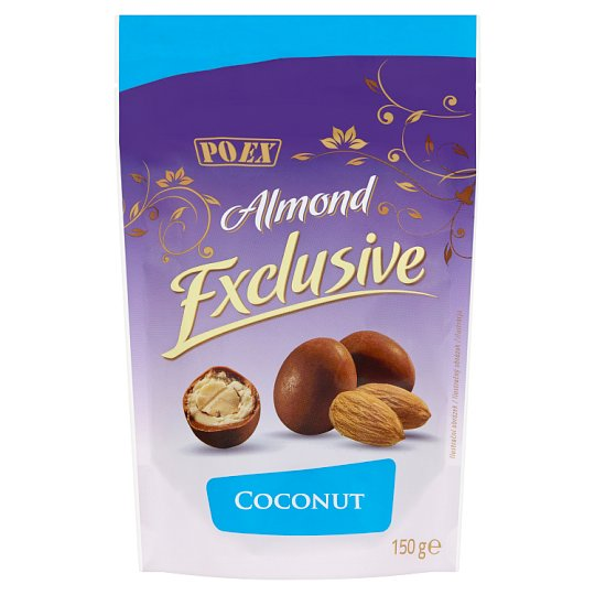 Poex Almond Exclusive Coconut Almonds in White and Milk Chocolate 150 g