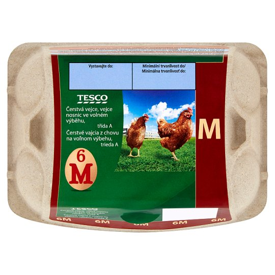 Tesco Čerstvé vajcia M 6 ks