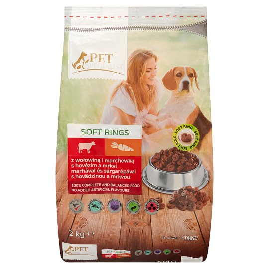 Tesco Pet Specialist Polovlhké granuly bohaté na hovädzinu s obilninami a zeleninou 2 kg