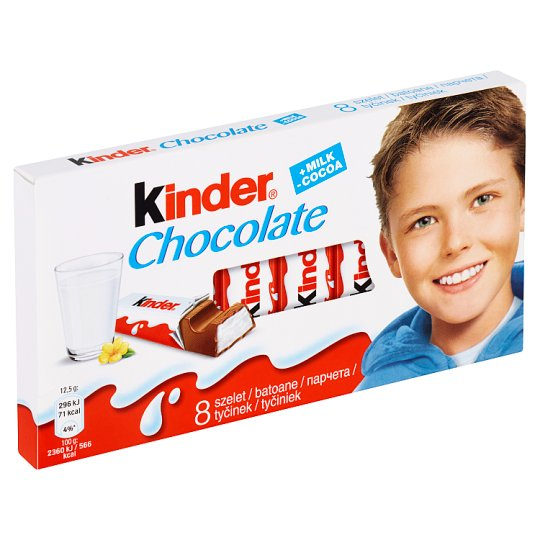 Kinder Chocolate Milk Chocolate Bars with Milk Filling 8 x 12.5 g