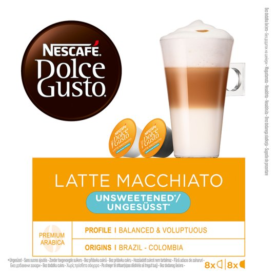 NESCAFÉ Dolce Gusto Latte Macchiato Unsweetened - Coffee in Capsules - 16 Capsules Packed