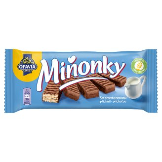 Opavia Miňonky Wafers with Milk Filling Fully Dipped in Milk-Cocoa Glaze 50 g