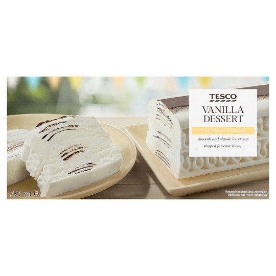 Tesco Mrazený krém s rastlinným tukom s vanilkovou príchuťou 750 ml