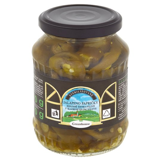 Greenhouse Jalapeno Peppers Sliced Extra Hot in Sweet-Sour Pickle 340 g