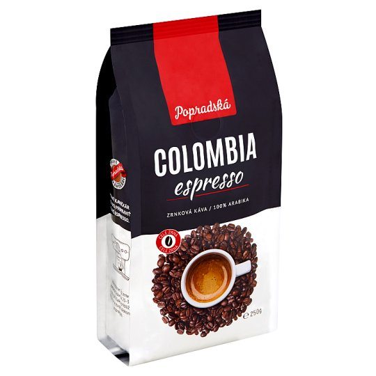 Popradská Colombia Espresso pražená zrnková káva 250 g