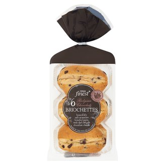 Tesco Finest 6 Beautifully Soft Miniature Brioche Loaves, with Dark Belgian Chocolate Chunks 270 g