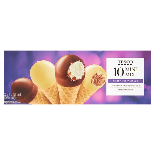 Tesco 10 Mini Mix Crispy Wafer Cones 2 x 5 x 25 ml