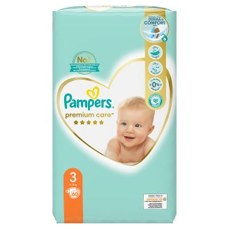 Pampers Premium Care Detské Jednorazové Plienky, Veľkosť 3 (Midi) 5 - 9 kg, 60 Kusov