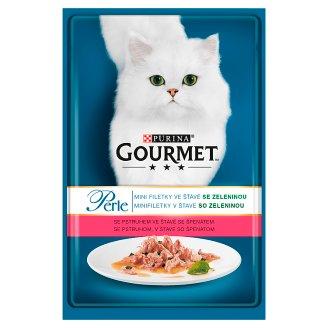 GOURMET Perle mini filetky v šťave so pstruhom, v šťave so špenátom 85 g