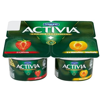 Danone Activia Yoghurt Strawberry, Apricot 4 x 120 g
