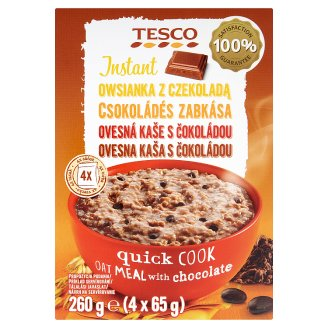 Tesco Instant ovsená kaša s čokoládou 4 x 65 g