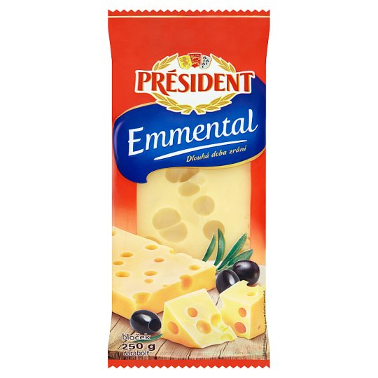 Président Emmental Natural Full-Fat Ripened Hard Cheese 250 g