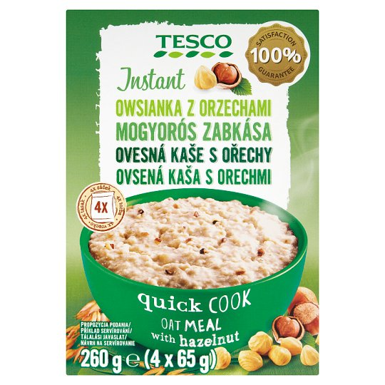 Tesco Instant Oatmeal with Hazelnut 4 x 65 g