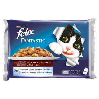 FELIX Fantastic s králikom a jahňacím v želé 4 x 100 g