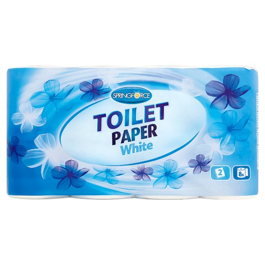 Springforce White Toilet Paper 2 Ply 8 Rolls