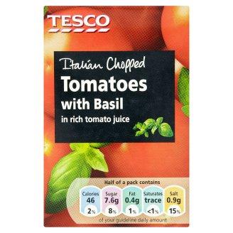 Tesco Krájané paradajky s bazalkou v paradajkovej šťave 390 g