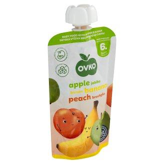 Ovko Dojčenská výživa jablko, banán a broskyňa bez prídavku cukru 120 g