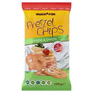 Snack&Fun Pretzel Chips praclíky so syrovo-cibuľovou príchuťou 100 g