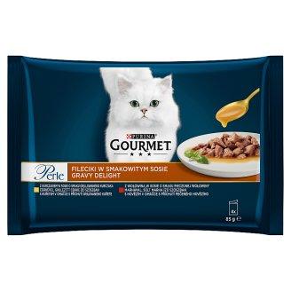 GOURMET Perle Gravy Delight Multipack s kuraťom a s hovädzím v ochutených omáčkach 4 x 85 g