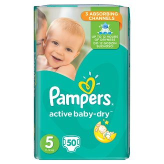 Pampers Active Baby-Dry Size 5 (Junior) 11-23 kg, 50 Nappies