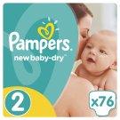 Pampers New Baby-Dry Detské Jednorazové Plienky, Veľkosť 2 (Mini), 76 ks