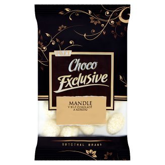 Poex Choco Exclusive Roasted Kernels of Almonds in White Chocolate and Coconut 150 g