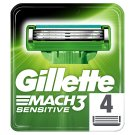 Gillette Mach3 Sensitive Razor Blades For Men, 4 Refills