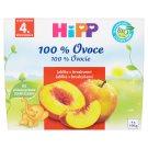 HiPP Bio jablká s broskyňami ovocný príkrm 4 x 100 g
