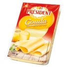 Président Gouda Slices of Full-Fat Semi-Hard Ripened Cheese 100 g