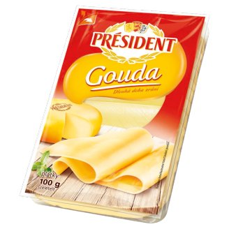 Président Gouda Slices of Full-Fat Semi-Hard Ripened Cheese 100 g