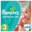 Pampers Active Baby-Dry Detské Jednorazové Plienky, Veľkosť 3 (Midi), 68 ks