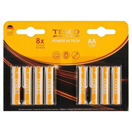 Tesco Power Hi Tech Alkaline Batteries AA 8 pcs