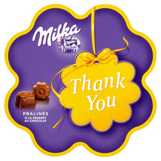 Milka Thank You pralinky z mliečnej čokolády z alpského mlieka s kakaovou náplňou 150 g