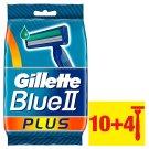 Gillette Blue II Plus Chromium Jednorazový Pánsky Holiaci Strojček – 10+4-kusové Balenie