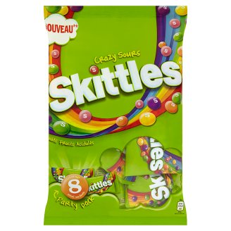 Skittles Crazy Sours Chewy Candy in Sugar-Coated with Acidic Fruit Flavour 208 g